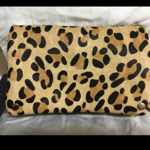 Leopard print calf hair cross body bag